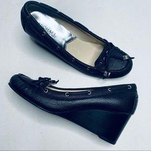 MICHAEL Michael Kors Blk Leather Mocassin Wedges
